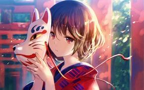 Картинка девушка, маска, кимоно, anime, art