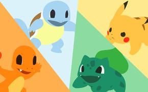 Картинка трава, вода, огонь, стихия, черепаха, динозавр, мышь, электричество, light, fire, flame, grass, пикачу, water, покемон, …