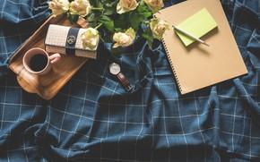Картинка цветы, стол, кофе, утро, ручка, блокнот