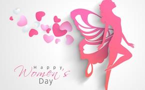 Картинка сердце, силуэт, фея, 8 марта