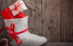 Картинка Новый Год, Рождество, подарки, Christmas, wood, Merry Christmas, Xmas, gift, decoration, сапожок
