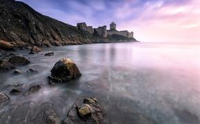 Картинка камни, замок, берег, крепость, Кот-д'Армор, Côtes-d'Armor