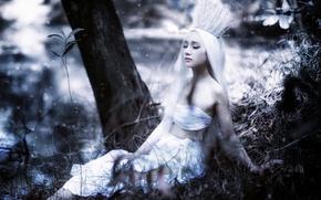 Картинка девушка, природа, корона, азиатка