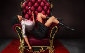 Картинка взгляд, девушка, поза, вино, юбка, кресло, аниме, арт, красные глаза, челка, фужер