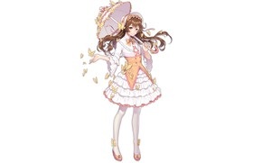 Картинка зонт, белый фон, девушка, бабочки