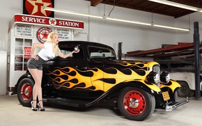 Картинка машина, девушка, гараж, языки пламени