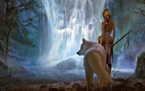 Обои girl, fantasy, forest, river, landscape, weapon, nature, Warrior, waterfall, braid, animal, wolf, blonde, digital art, ...