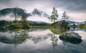 Обои Бавария, Германия, туман, горы, скалы, озеро