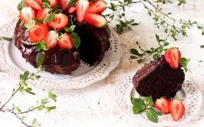 Обои мята, клубника, кекс, шоколад, торт