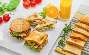 Картинка сыр, сок, бутерброд, помидор, мята, сэндвич, салат, розмарин