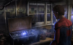 Картинка Spider-Man: Homecoming, арт, комикс, город, чемодан, огни, окна, рисунок, ночь, MARVEL, Spider-Man, оружие, Человек-паук: Возвращение ...