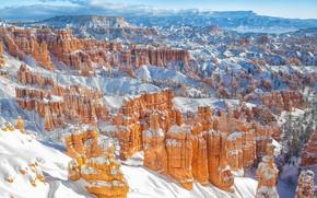 Картинка зима, снег, каньон, Юта, Utah, Bryce Canyon National Park, Национальный парк Брайс-Каньон, худу