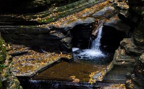 Картинка Водопад, Осень, Камни, USA, США, Fall, Листва, Речка, Autumn, Waterfall, River, Листопад, Итака, İthaca