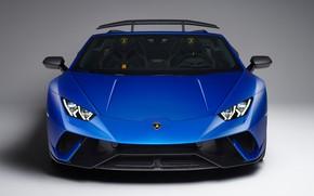 Картинка Lamborghini, вид спереди, Spyder, 2018, Performante, Huracan