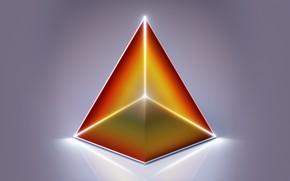Обои абстракция, грань, объем, пирамида, треугольник