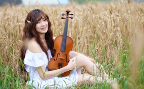 Обои девушка, музыка, скрипка