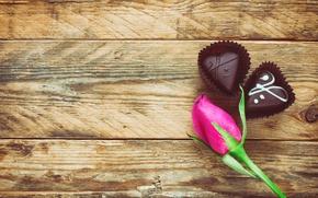 Картинка розы, сердечки, love, rose, wood, pink, romantic, hearts, chocolate, Valentine's Day