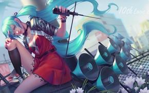 Картинка взгляд, девушка, аниме, арт, vocaloid