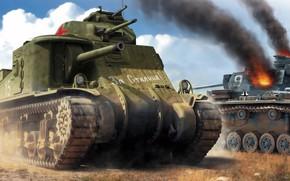 Обои СССР, Lee, американский средний танк, За Сталина