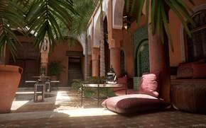 Картинка пальмы, стол, двор, пуф, Moroccan Courtyard