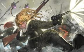 Картинка battlefield, girl, gun, pistol, soldier, military, weapon, war, anime, fight, blonde, asian, manga, gloves, oriental, …