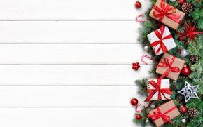 Обои ветки, Рождество, wood, игрушки, украшения, gifts, fir tree, merry christmas, подарки, Новый Год, decoration