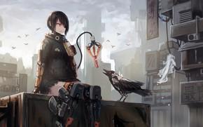 Картинка city, future, girl, fantasy, robot, android, bird, crow, anime, food, sci-fi, artwork, fantasy art, eating, …