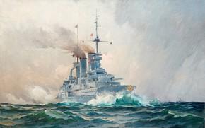 Картинка военный корабль, Герман Густав аф Силлен, шведский морской пейзаж, Немецкий линкор