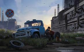 Обои город, собака, арт, дед, гармонь, Industrial melancholy