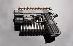 Обои пистолет, фон, пули