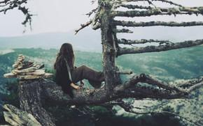 Картинка девушка, природа, дерево, настроение, вид
