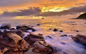 Картинка море, волны, закат, природа