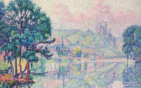 Обои пейзаж, река, Лез-Андели. Утро. Лето, пуантилизм, Поль Синьяк, картина