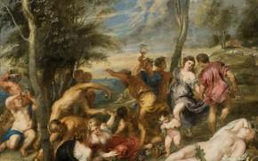 Картинка эротика, картина, Питер Пауль Рубенс, мифология, Pieter Paul Rubens, Вакханалия на Острове Андрос