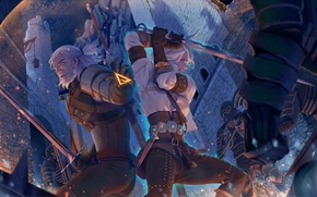 Картинка арт, ведьмак, art, иллюстрация, witcher, геральт, geralt, swords, дикая охота, wild hunt, the witcher 3, ...