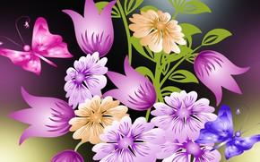 Картинка бабочки, цветы, букет, векторная графика