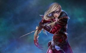Картинка Девушка, Кровь, Оружие