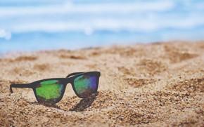 Картинка beach, sand, glasses