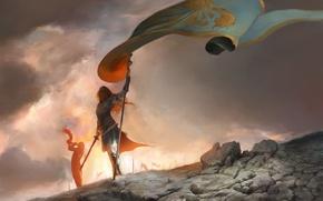 Картинка sword, fantasy, armor, Warrior, painting, flag, artwork, fantasy art, horn
