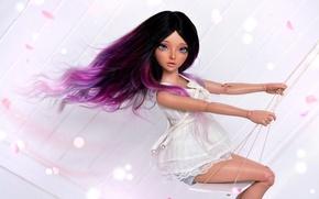 Картинка девушка, качели, волосы, кукла