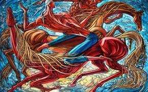 Картинка Борьба, 2007г, Айбек Бегалин, мускулы, кони, качки