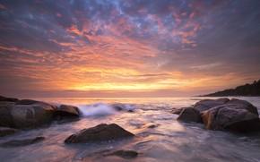 Картинка море, волны, пляж, лето, небо, закат, камни, берег, summer, beach, sky, sea, sunset, pink, seascape, …
