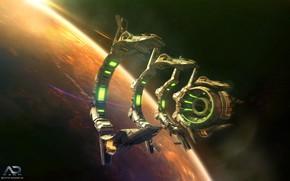 Картинка космос, планета, Online Strategy Game, A.D. 2460, Derelict Jumpgate