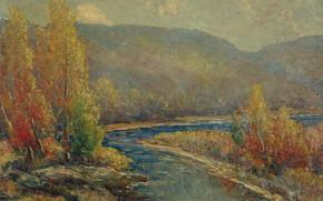 Картинка деревья, пейзаж, горы, река, картина, Осень в Делавэре, Cullen Yates