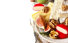 Картинка еда, сыр, тарелка, орехи, инжир, Natalia Klenova