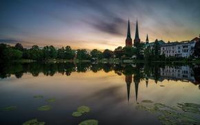 Картинка пруд, Германия, церковь, собор, Germany, Lübeck, Lübecker Dom
