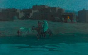 Картинка дома, вечер, лошади, Oscar Edmund Berninghaus, Twilight Taos Pueblo