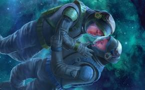 Обои скафандры, любовь, Alkion Book Cover, космонавты, звёзды, нежность
