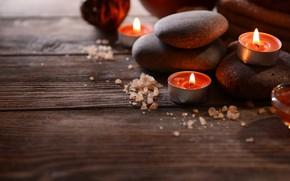 Картинка камни, доски, свечи, соль