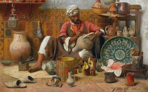 Картинка масло, холст, французский живописец, 1910, Жан Дискарт, гончарная мастерская, Jean Discart, L'Atelier de Poterie